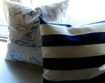 Toss, throw, accent Pillow cover, stripes, black n white,  16x16.