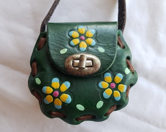 Vintage Tiny Leather Purse, Shoulder Bag, Doll-Sized, Painted, Flower Power, ca. 1970