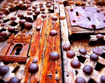 Ancient Door -Medieval Architecture Photograph, Spanish Art Print, Castellon, Interesting Picture, Door Art, Castle, Key Hole, Spain Morella