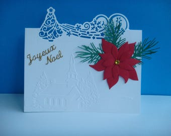 Embossed landscape Christmas card Kit tree combines large poinsettia flower red make you even