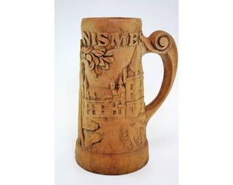 Very Large Vintage Hand Carved Wooden Beer Stein-Carved Decorative Beer Mug