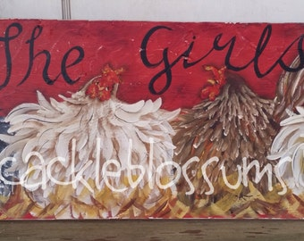 """11"""" x 36"""" #504 Coop Signs Chickens Hens Art on Rustic Wood Personalzed"""
