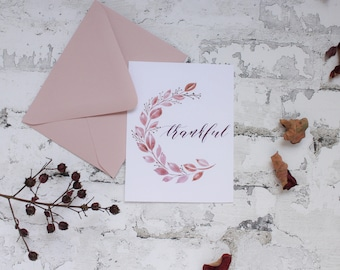 Thankful - Watercolor/Calligraphy Thank You Cards