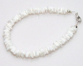 White Shell Bracelet, Beige Bracelet Made in America, New* Beige Shell Bracelet, White Shell Bracelet Made in America