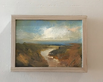 Small Oil Painting  - Beach Path - Oil Painting- Standard Frame - Original- 5 x 7 Canvas Panel - Frame Included -  Collectible - Fine Art