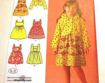 LAST CHANCE SALE - Simplicity 2680 - Child's Dress, Jumper, and Jacket Pattern - Sizes 3 to 8-  Uncut
