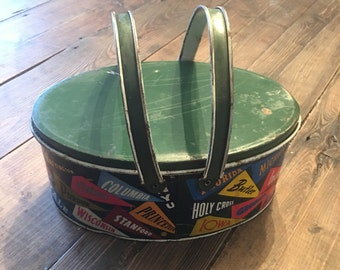 College Themed Tin/Vintage Tin/Old Lunchbox Tin/College Banner Decorative Tin with Lid/Collectible Tin/Green Tin with Lid/Retro Tin with Lid