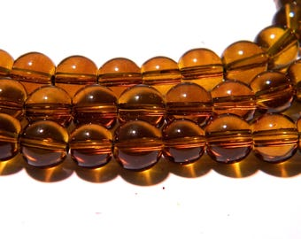 40 8 mm translucent glass - round glass pearl beads - amber-K05
