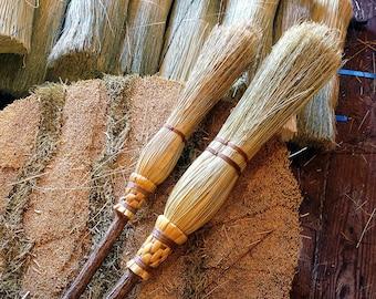 Mother & Daughter Ceremonial Broom Set in Natural Broomcorn- Witch's Brooms - Magic Brooms