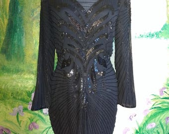 Black, Silk, Beaded, Dress