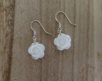 White Rose Earrings- Flower Earrings-Gifts for her- Mother of Pearl- Shell- Hawaii- Sterling Silver- Silver- Dangle Earrings-Rose