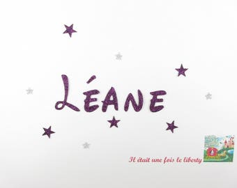 Applied fusible customizable glitter name 5 letters (Leane, example) glitter fabric (colors)
