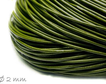 5 m leather strap olive green, Ø 2 mm