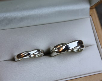 White Gold Infinity cross over matching wedding bands / Commitment rings