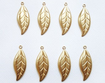8 Raw Brass Etched Leaves