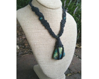 Grass Turquoise Black Micromacrame Necklace Wrapped Stone, Turquoise Necklace, Wrapped Pendant Necklace