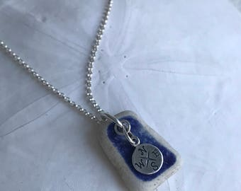 Nautical Compass Cobalt Blue Sea Pottery Necklace, Cobalt Blue Necklace, Beach Bridal Wedding, Sea Pottery Necklace, Nautical Sea Compass