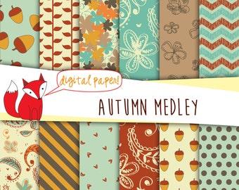 "Fall Digital Paper ~ Fall Paper ~ ""Autumn Medley"" ~ Digital Scrapbooking ~  Digital Backgrounds ~ Printable Fall Designs"