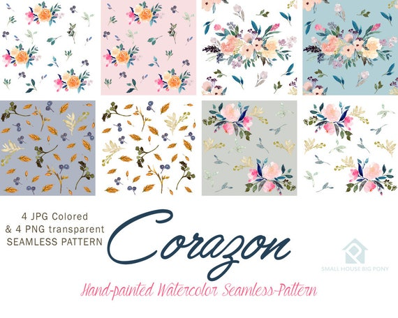 Watercolour Flower Clip Art Collection - Hand Painted Graphics- Corozon Seamless Floral Pattern