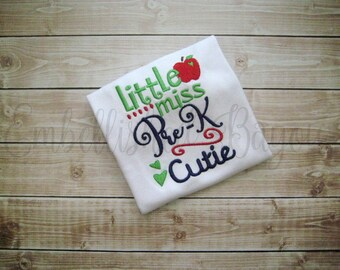 Little Miss Pre-K Cutie with Apple Back To School T-shirt for Girls Red/Navy/Green