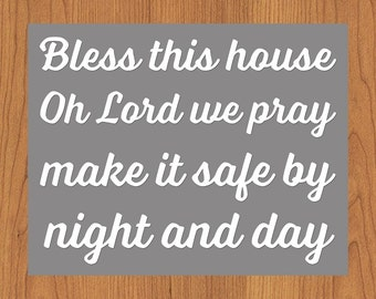 Bless This House Make It Safe By Night And Day Grey White Spiritual Wall Art Decor Foyer Entryway Hallway Bedroom Den 11x14 (161-1)