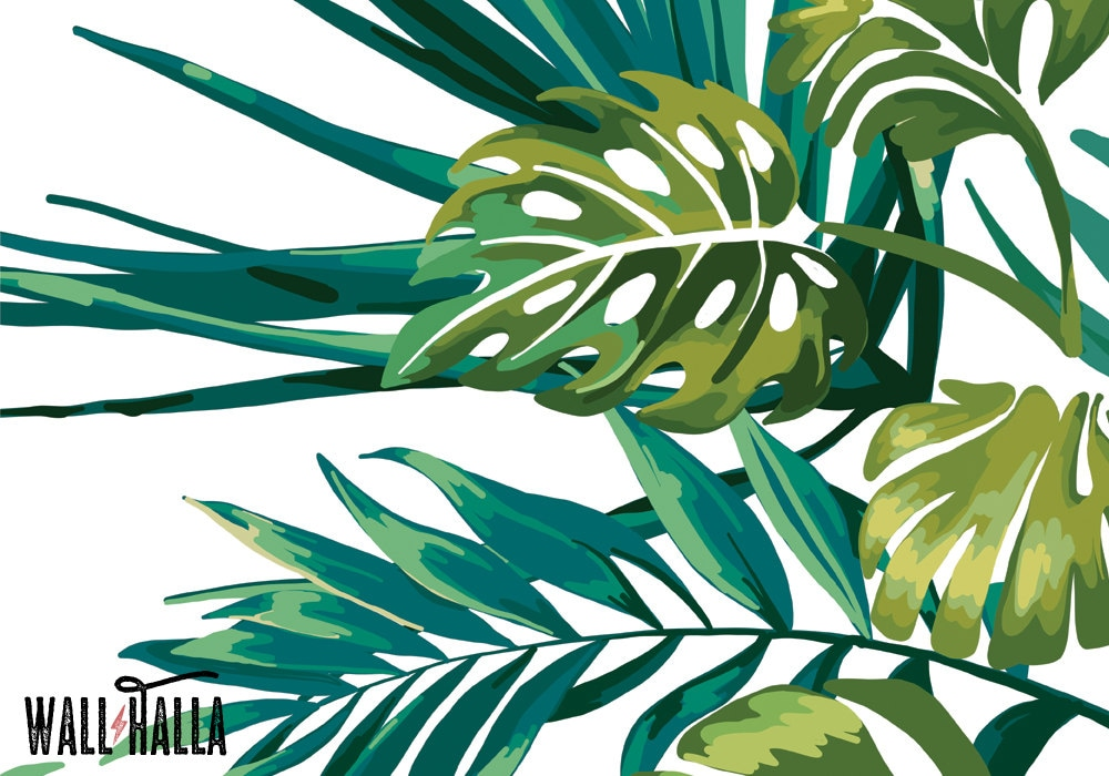 Monstera Palm Jungle Wallpaper Removable Wallpaper