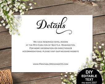 Wedding details card, Details card, wedding details, wedding information card, info card, rustic, printable wedding, template, DIY  #S4MR1