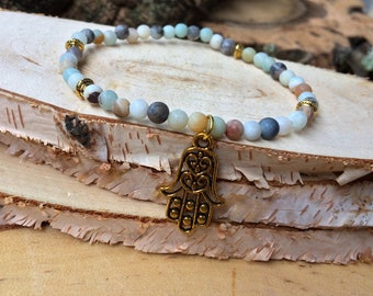 HAMSA Gold Amazonite mala Bracelet