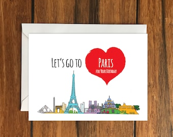 Let's Go To Paris for your Birthday Blank greeting card, Holiday Card, Gift Idea A6