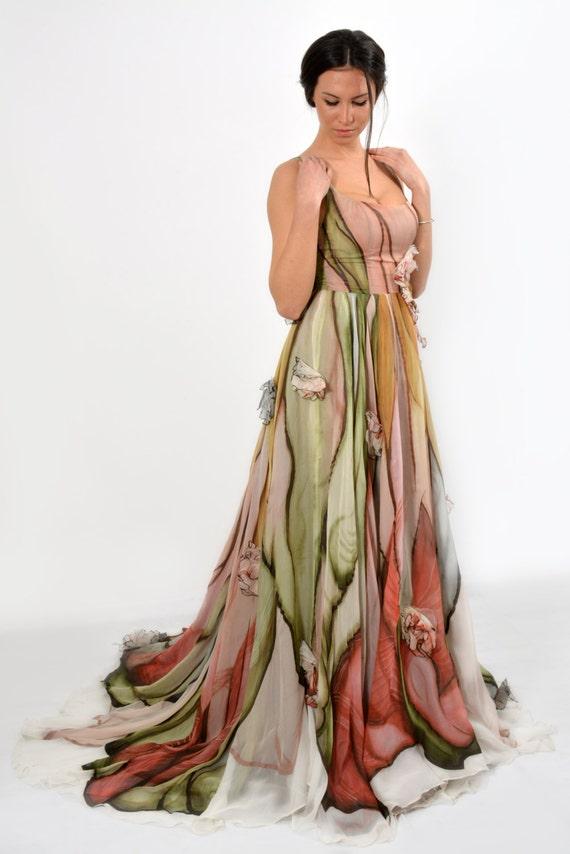 Hand Painted Dress Ball Gown Prom Dress Long Formal Dress