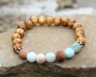 Anniversary gift Wooden bracelet Wooden jewelry Wood bracelet Wood jewelry Wood Bead Bracelet amazonite jewelry amazonite bracelet
