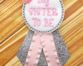 Sister to be corsage - Big sister corsage  - Baby shower corsage - Big sister to be pin - Big sister baby shower gift -Pink silver corsasge
