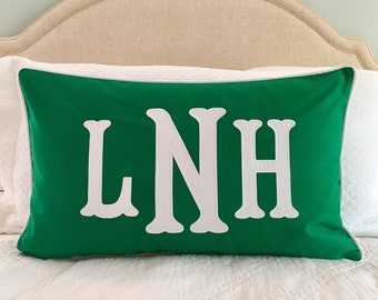 Monogrammed Appliqué Pillow Cover