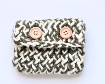 Knitting card holder, knitting, increased clutch wallet, handmade