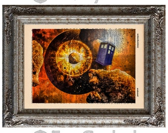 British Police Box 2 on Vintage Upcycled Dictionary Art Print Book Art Print Time Recycled Repurposed Time Travel Time Lord bookworm gift