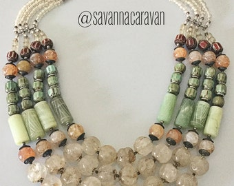 Jade Silver Nepalese Old Rock Crystal Melon Bead Multi Strand Necklace N186