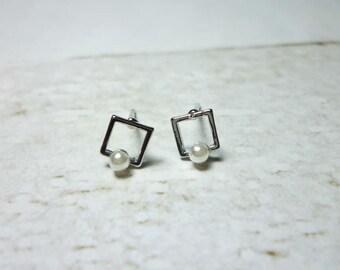 Open Square Stud Earrings, Dainty Earrings