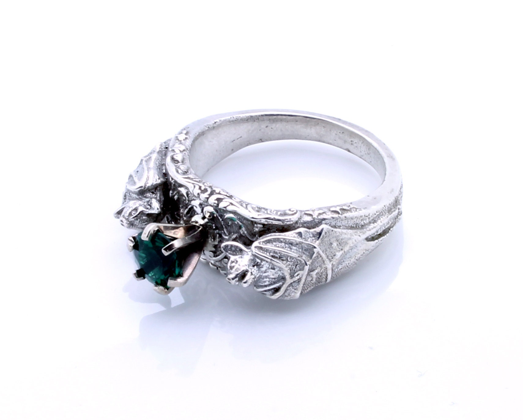 center cut emerald featuring unisex gothic pin ring stone engagement rings in platinum