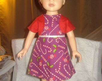 Holiday jacket dress in purple and red candy cane print for 18 inch Dolls - ag207