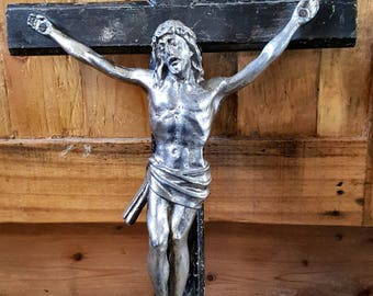 Stunning Antique Religious Heavy Vintage French Wooden Crucifix with White Metal Jesus