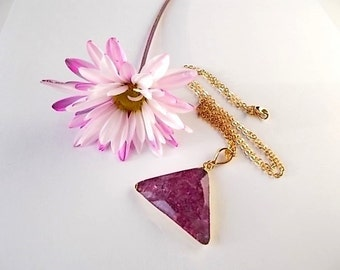 Dark Pink Quartz Necklace, Birthday Gift, Triangle Pendant, Jewelry for Her, Gold Boho Jewelry, Natural Stone Necklace