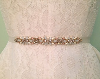 Ivory, Opal, Blush, and Rosegold Crystal Embellished Delicate Multi Colored Bridal Bridesmaids Satin Ribbon Sash Belt