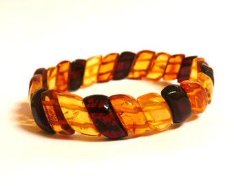 Baltic Amber Jewelry Bracelet Multicolor Beaded Carved Natural 6.9 gram