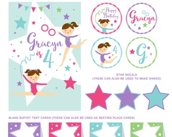 DIGITAL FILES Gymnastics Party Decorations, Gymnastics Birthday Party Decor, Tumbling Party, Tumbling Party Kit, High Resolution PDF files