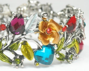 Sale  Vintage 1970s Hinged Cuff Bracelet - Wide Multicolor Rhinestone Cuff - Roses, Leaves - Crystal Cuff - Boho Chic - Hippie - Retro
