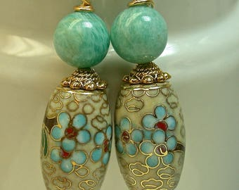 Vintage Chinese Pale Yellow Cloisonne Dangle Drop Barrel Bead Earrings - Blue Flowers,Vintage Aqua Amazonite Beads,Gold Ear Wires