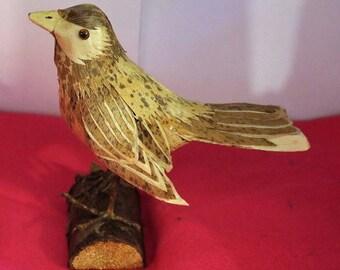 Vintage Wooden Bird Statue