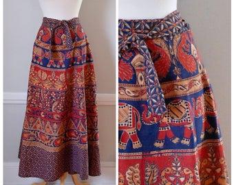 70s Skirt / 70s Maxi Skirt / 70s Boho Skirt / 70s Wrap Skirt / India Print / Cotton Skirt / Maxi Skirt  / Wrap Around Skirt / Medium / Large