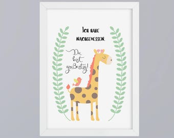 Giraffe you're great - unframed art print