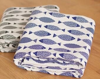 Cotton Linen Fabric Cloth -DIY Cloth Art Manual Cloth -Small Fish  55x19 Inches